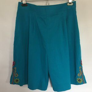 90's Embroidered Crepe High Rise Mom Shorts /Sz.14